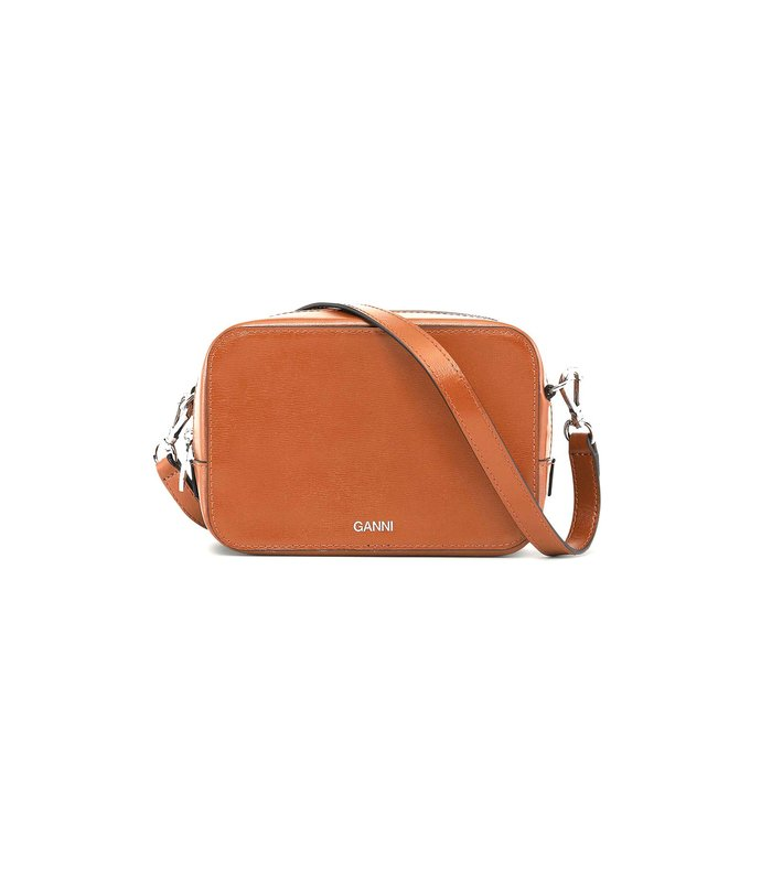 textured leather bag in cognac