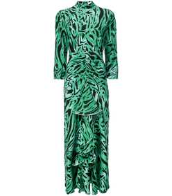 black/green open back dress