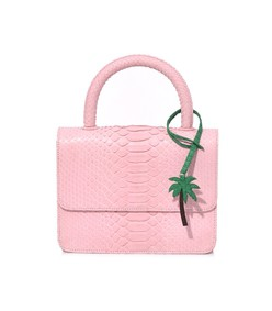 top handle python bag in light pink