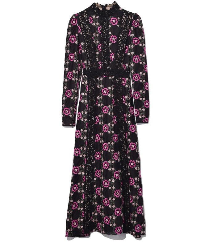 lace floral dress in black/marguerite framboise