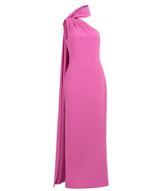 one shoulder high neck gown