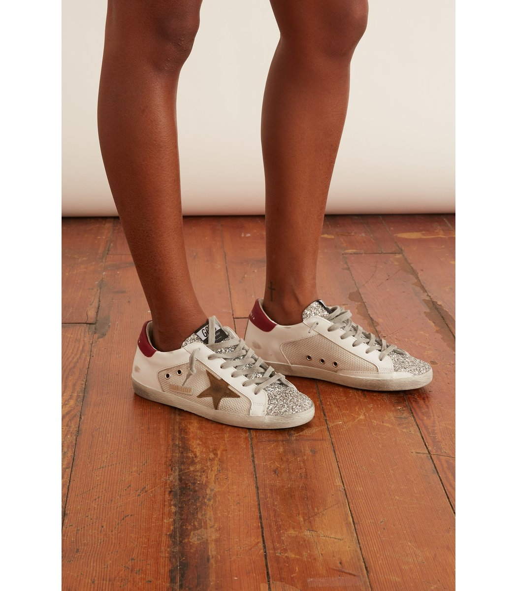 GOLDEN GOOSE Glitters Superstar Sneaker in Silver/White/Tobacco/Red
