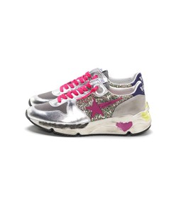 running sneakers in multicolor glitter/fuxia star