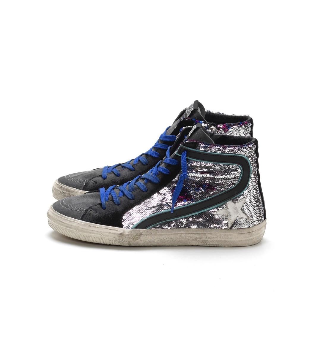 Golden Goose Slide Sneakers In Leopard Paillettes/White Star In Leopard Print