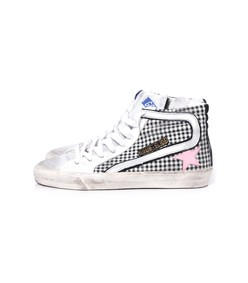 slide sneakers in white check/pink star