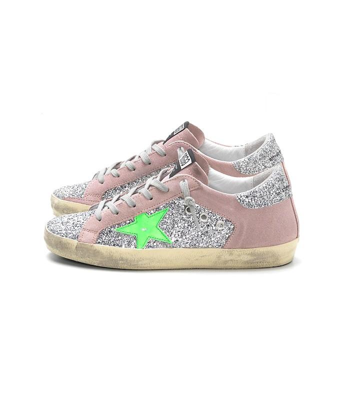superstar sneakers in silver glitter/pink suede