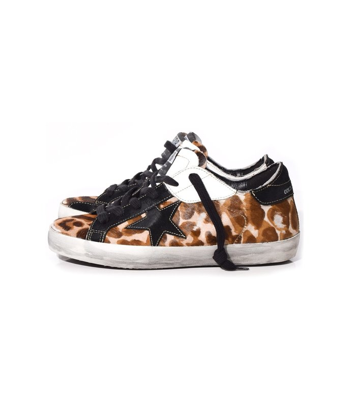 superstar sneakers in leopard patch/black star