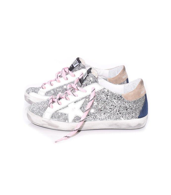 superstar sneakers in silver glitter avola/white star