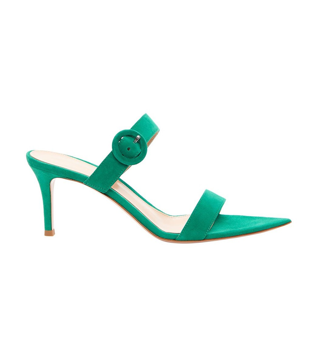 GIANVITO ROSSI Green Suede Slide Buckle Sandal