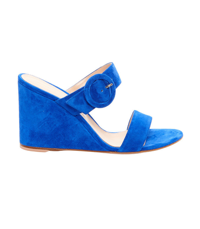 blue ming suede wedge mules