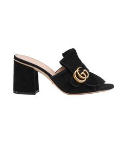 black suede mid-heel slide mule