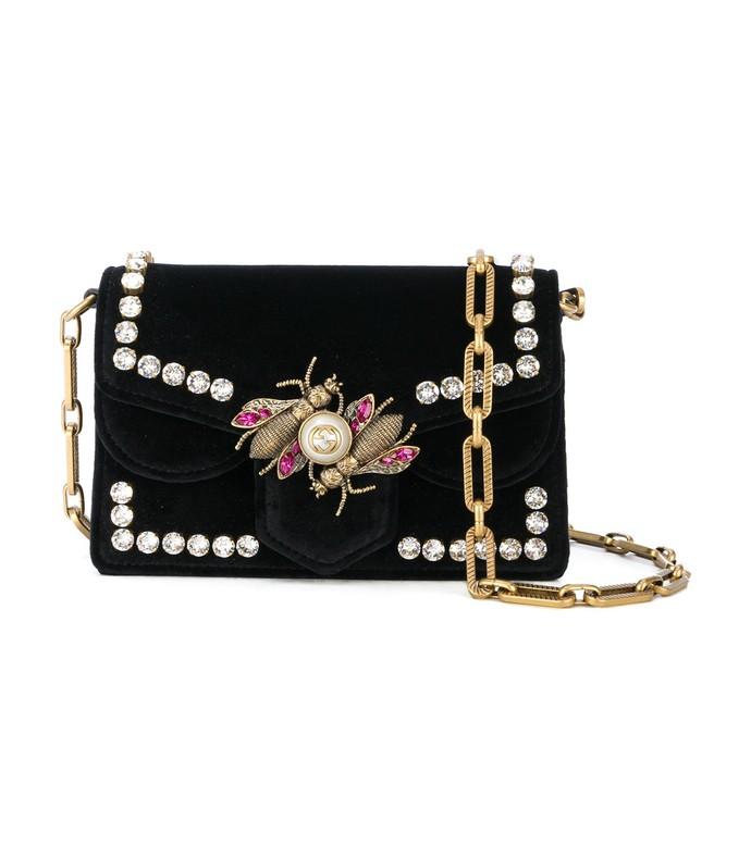 mini black velvet broadway bag
