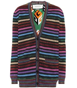 multicolor striped lurex cardigan