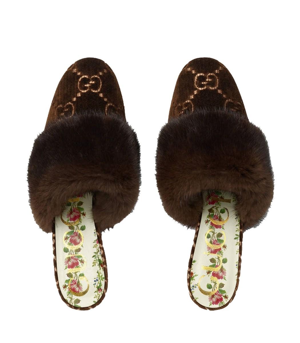 238c1f1237af Gucci GG Velvet Slide - Brown Mink Fur Slide