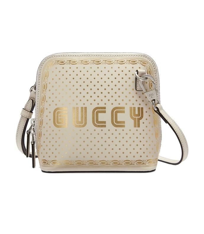 white gold guccy print mini shoulder bag