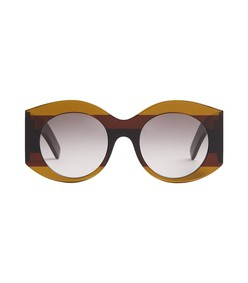 striped round-frame acetate sunglasses