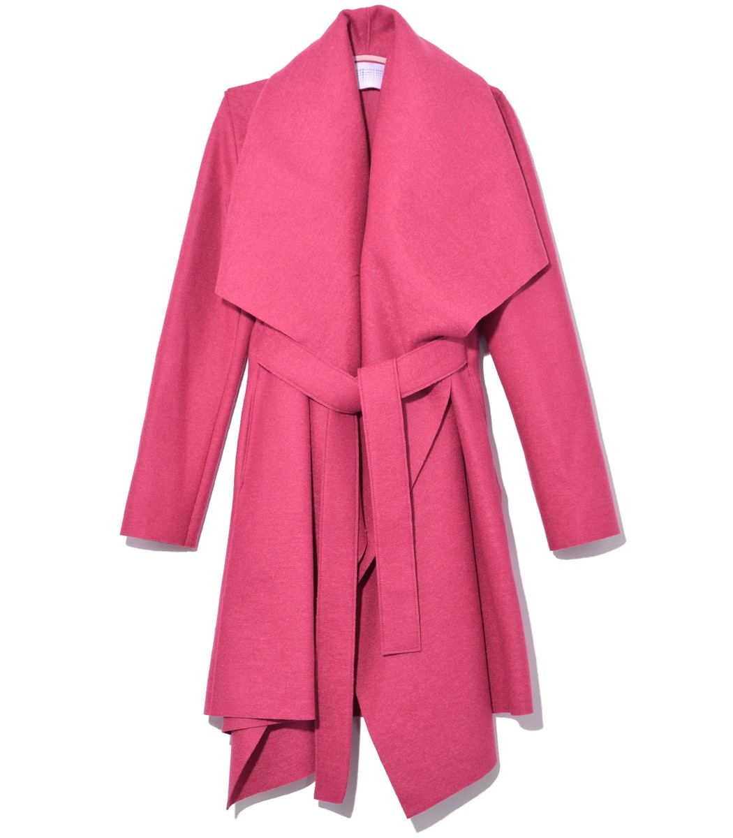 HARRIS WHARF Belted Blanket Coat In Bubble in Bubble Pink