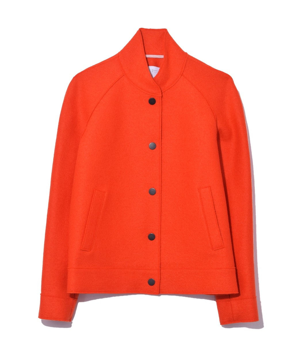 HARRIS WHARF Bright Orange Bomber Jacket