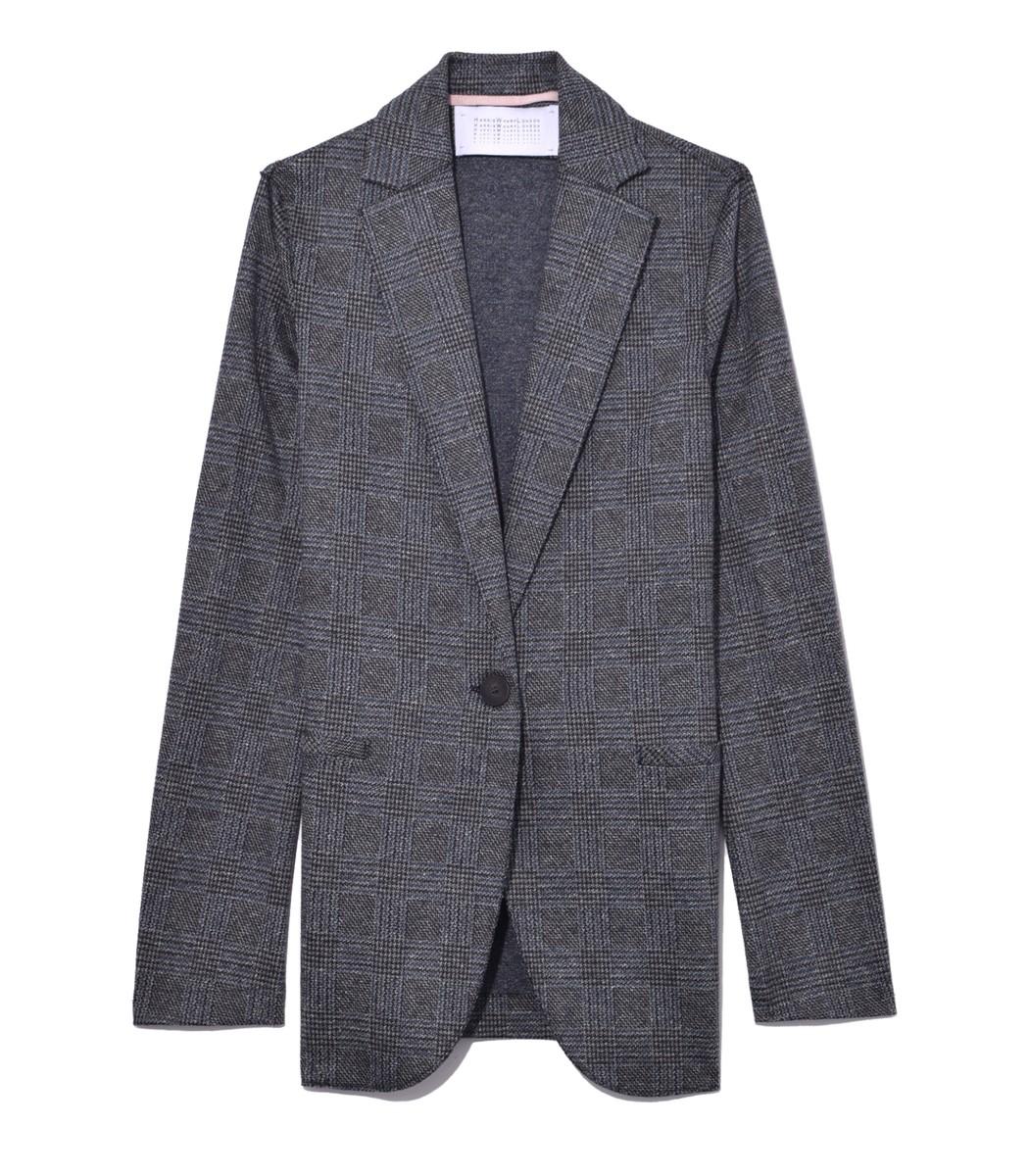 HARRIS WHARF Prince Of Wales Boyfriend Blazer In Middle Grey