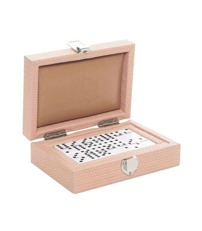 nude leather double 6 dominoes set