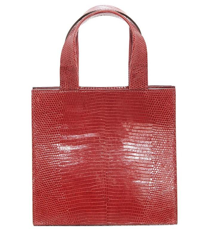 red mini lizard tote bag