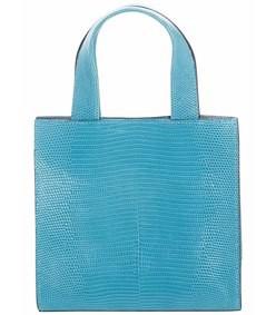 turquoise mini lizard tote bag