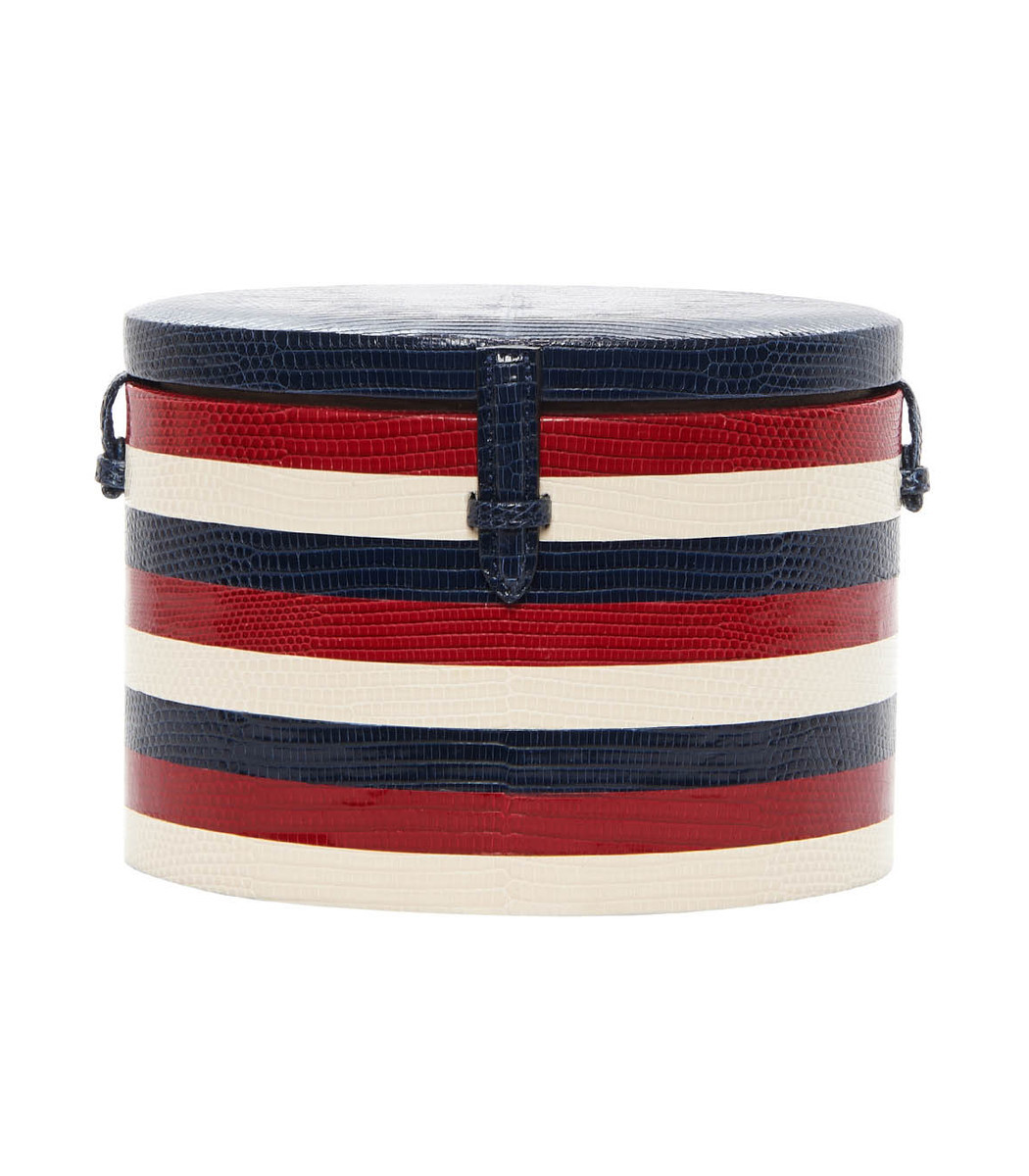 Multicolor Exclusive Navy Striped Lizard Round Trunk