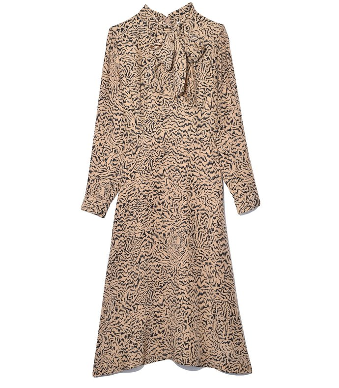 elisa scarf dress in brown tiger