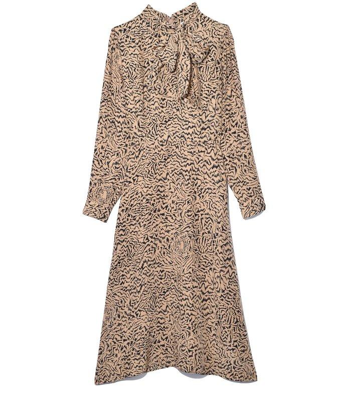 elisa scarf dress in brown tiger