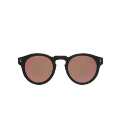 leonard sunglasses in matte black/rose mirror