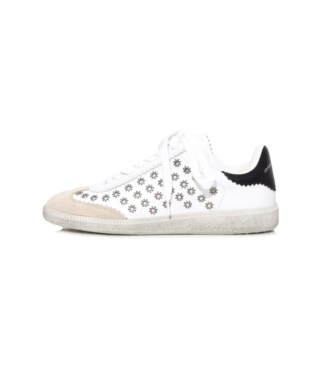 Isabel Marant White Bryce Eyelet Studded Sneakers QbyvLSg
