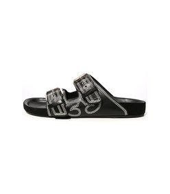 lennyo sandal in black/ecru