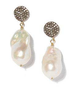 diamond circle and baroque pearl earrings