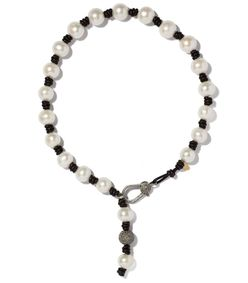 black/white knotted leather and pearl necklace