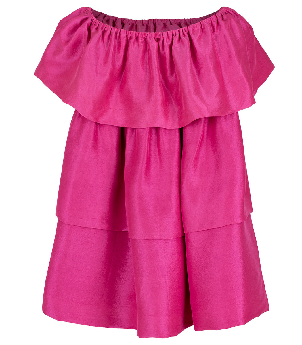 Azeeza Kamilla Raw Silk Bubblegum Dress