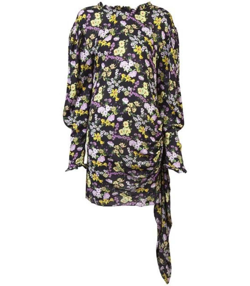 Magda Butrym Clothing Ruched Wrap Floral Mini Dress