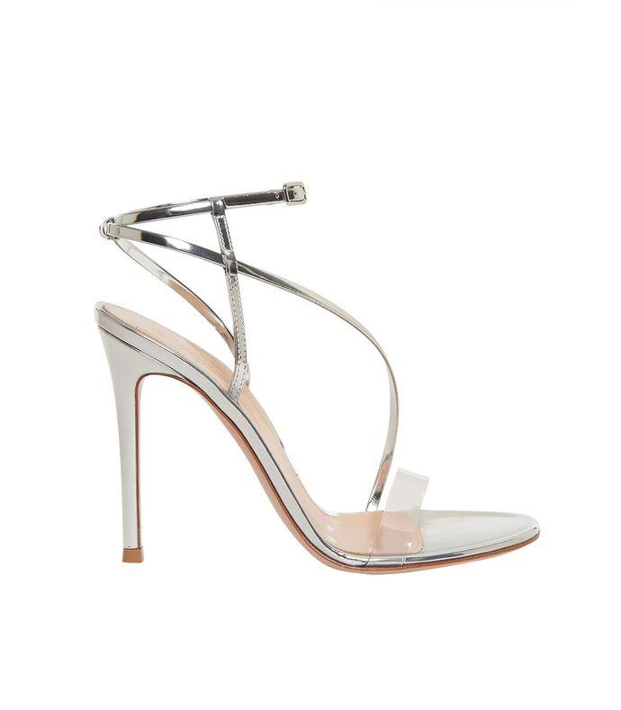 open toe strappy metallic pvc heels