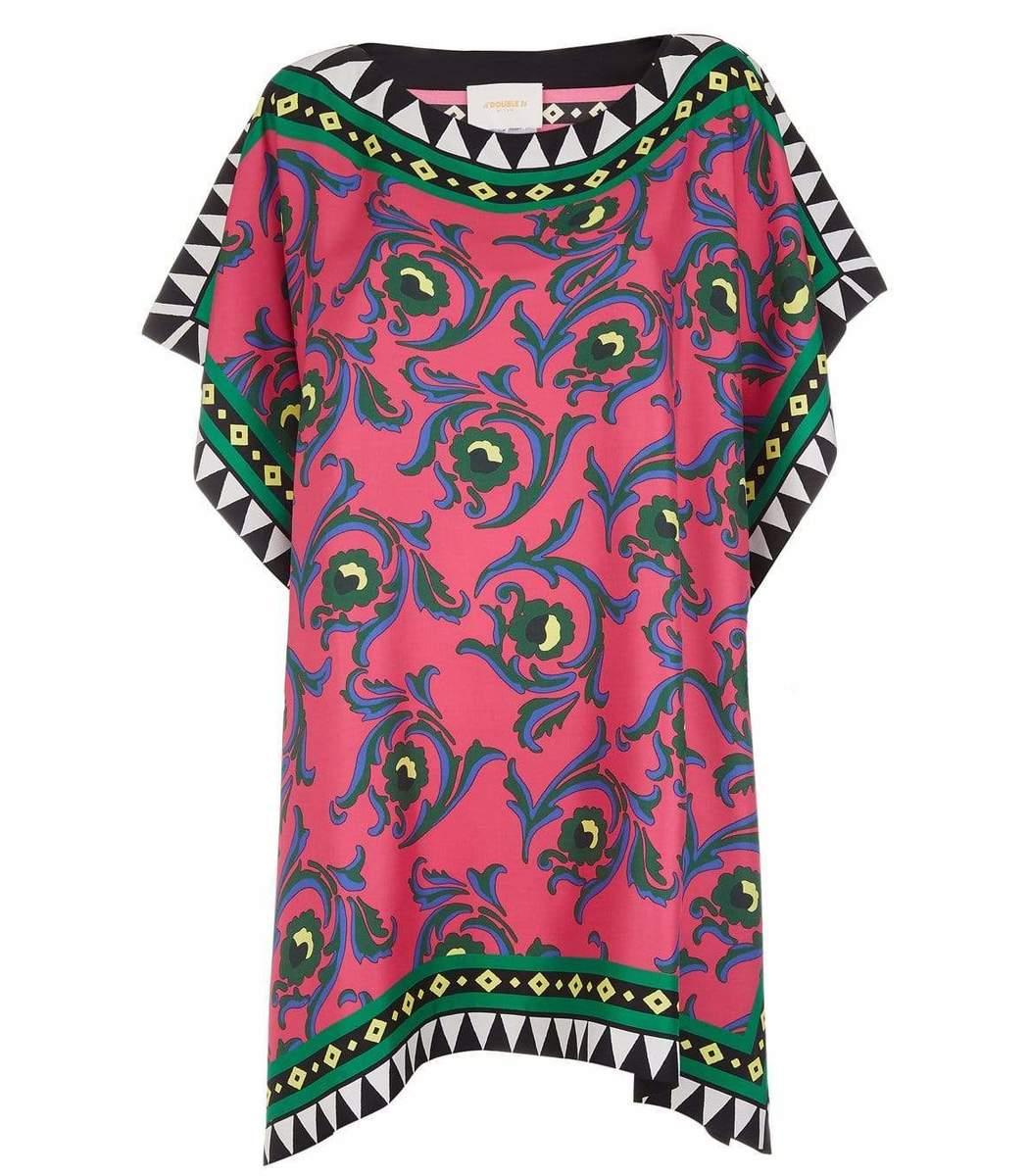 La Doublej Clothing Cartwheel Fuxia Silk Twill Scarf Dress
