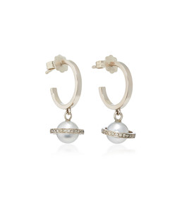 mirco saturn white gold diamond and pearl hoops
