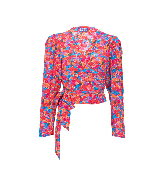 bright french floral odalys blouse