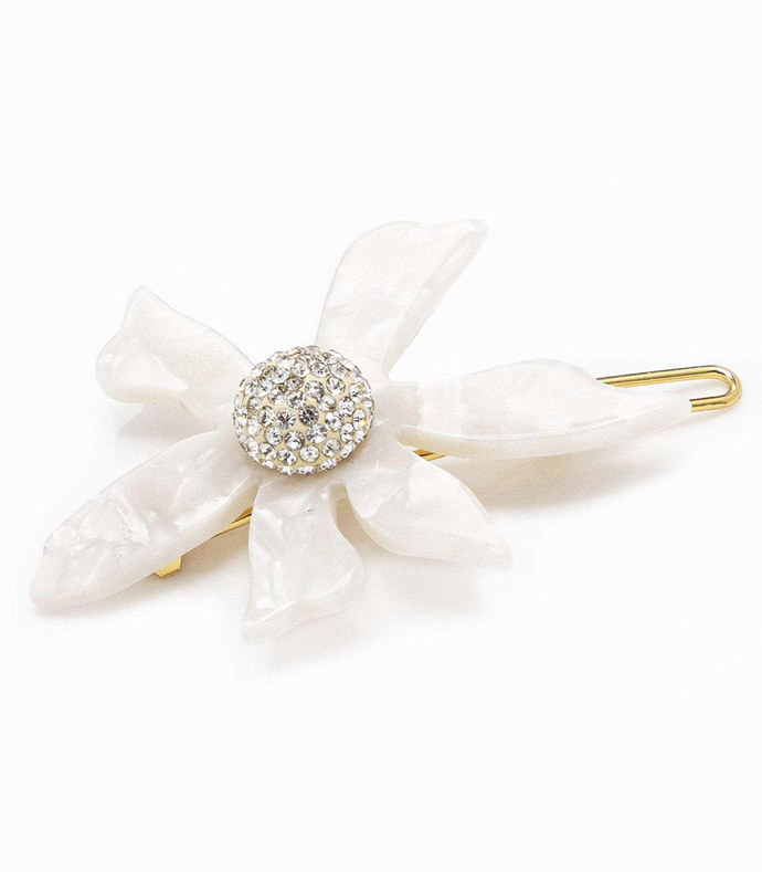 crystal water lily barrette