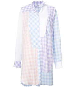 gingham asymmetric shirt