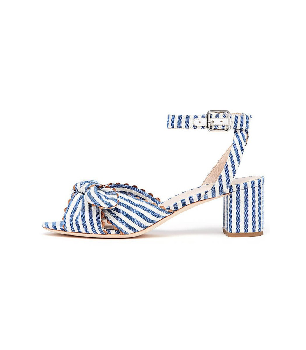 1c1cb0286459 Loeffler Randall Jill Knotted Block Heel With Ankle Strap In Blue Cream