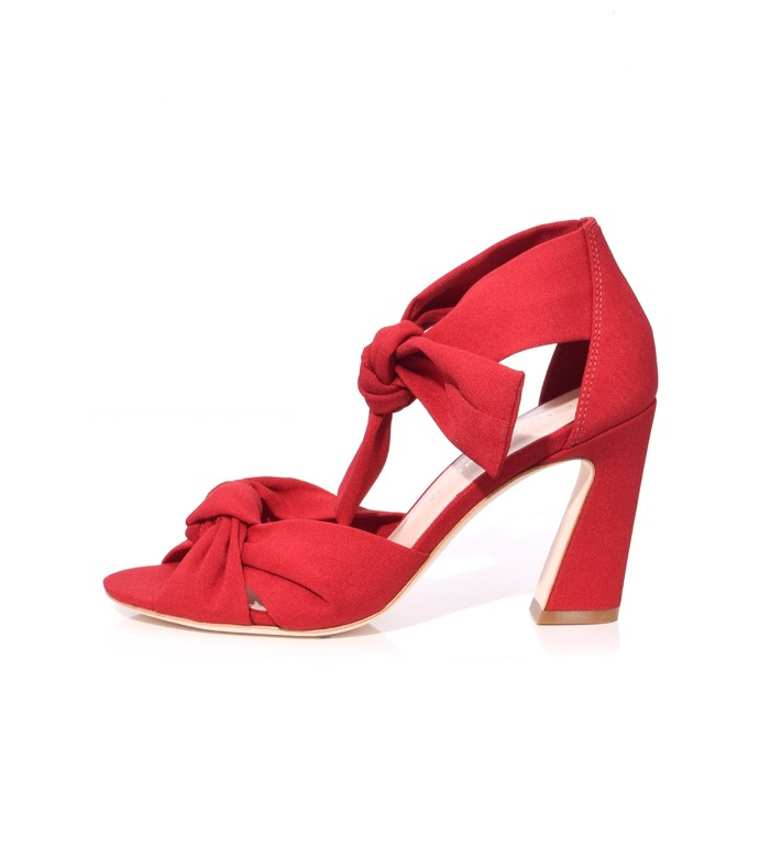 bright red nan ankle tie heel