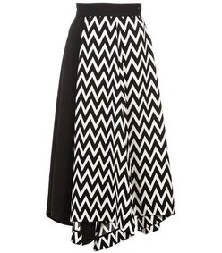 black/white asymmetic herringbone skirt