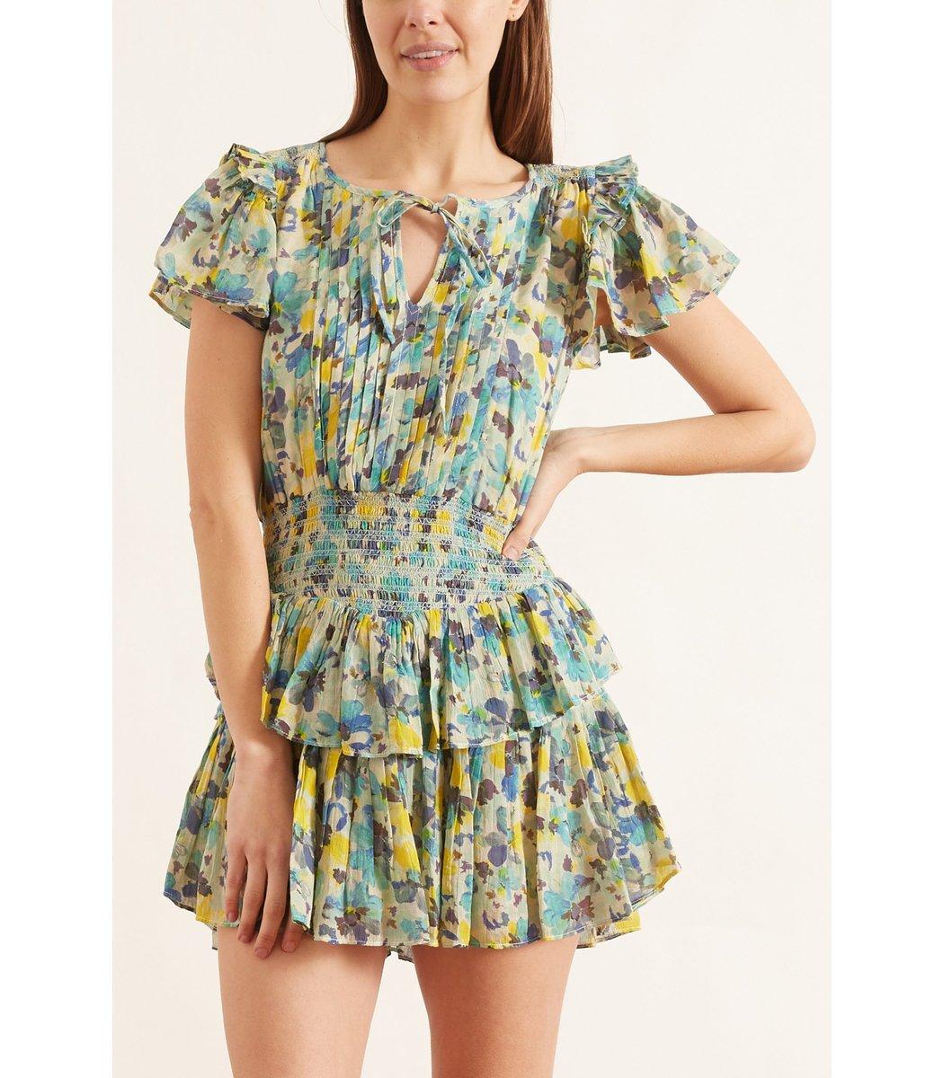 LOVESHACKFANCY Cottons Audette Dress in Acai Berry