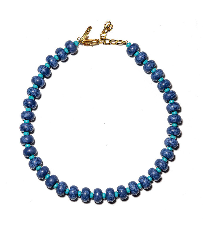 lapis beaded country club necklace
