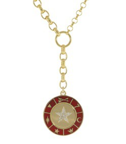 large red enamel medallion star necklace