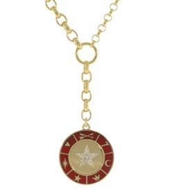 large red enamel medallion star necklace