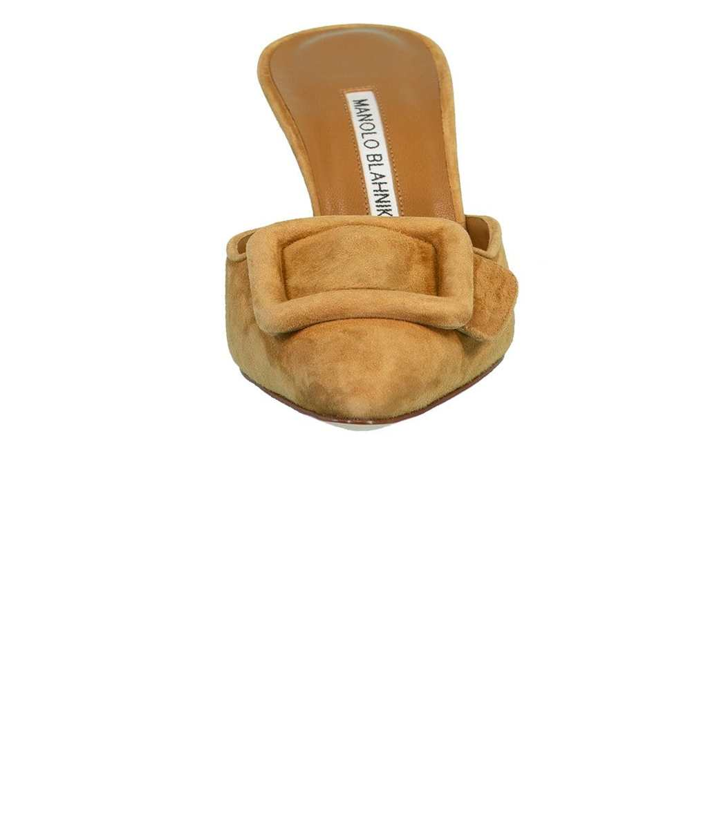 MANOLO BLAHNIK High heels Light Brown Suede Buckle Heel